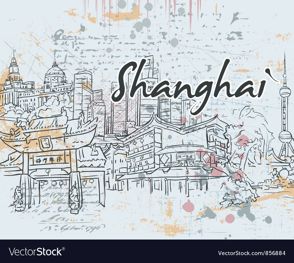 Shanghai doodles vector image