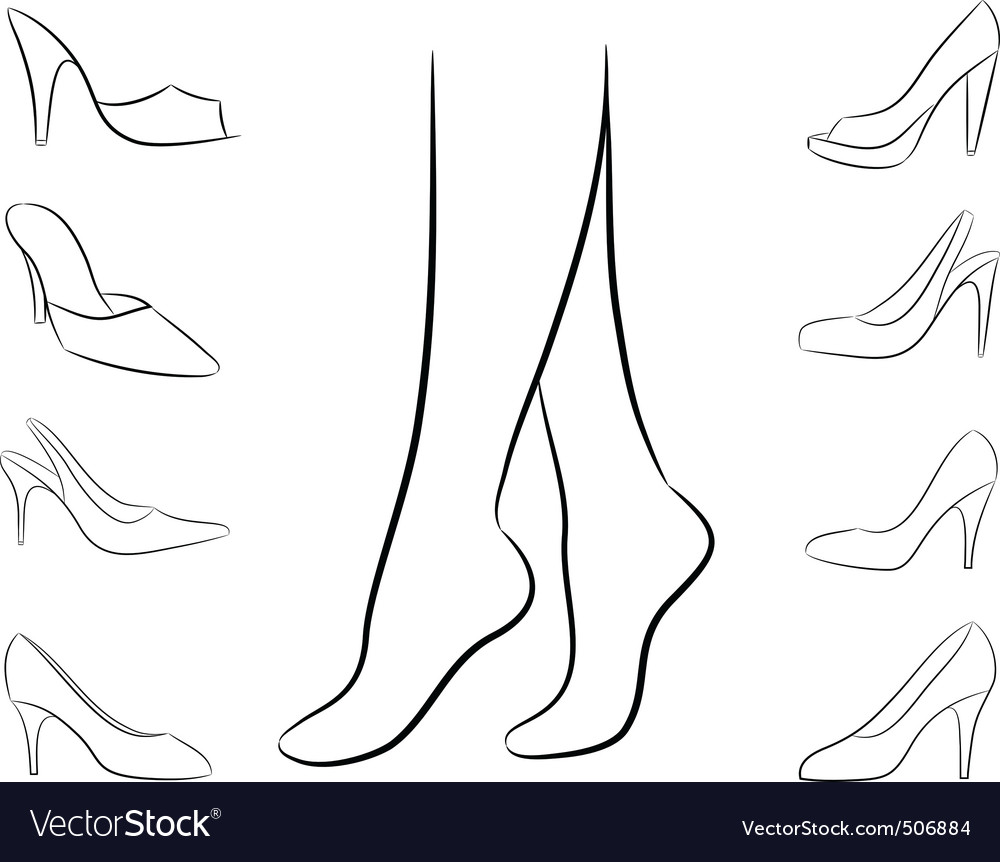 Vector silhouette of feet and shoes