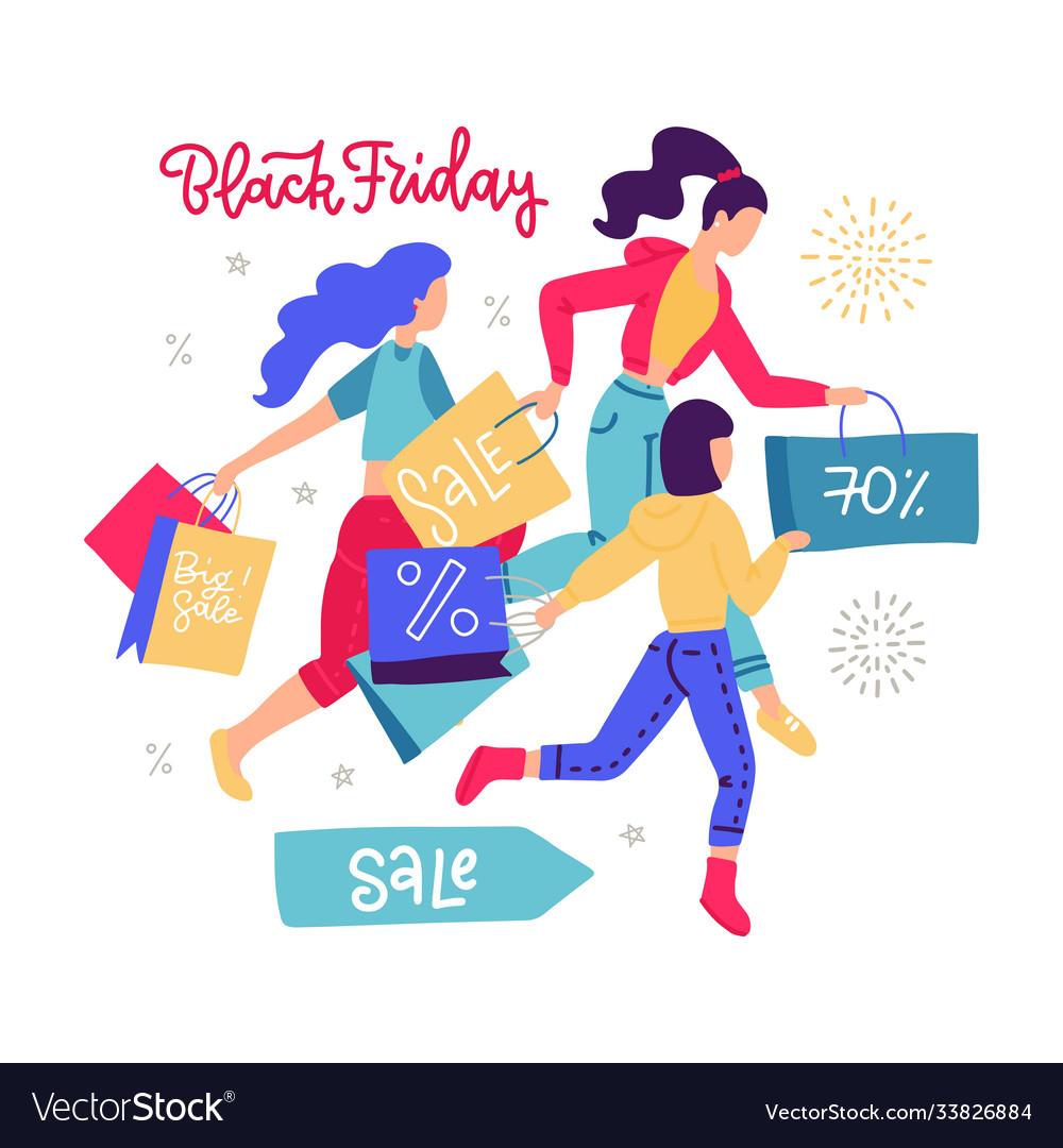 Women carrying shopping paper bag running
