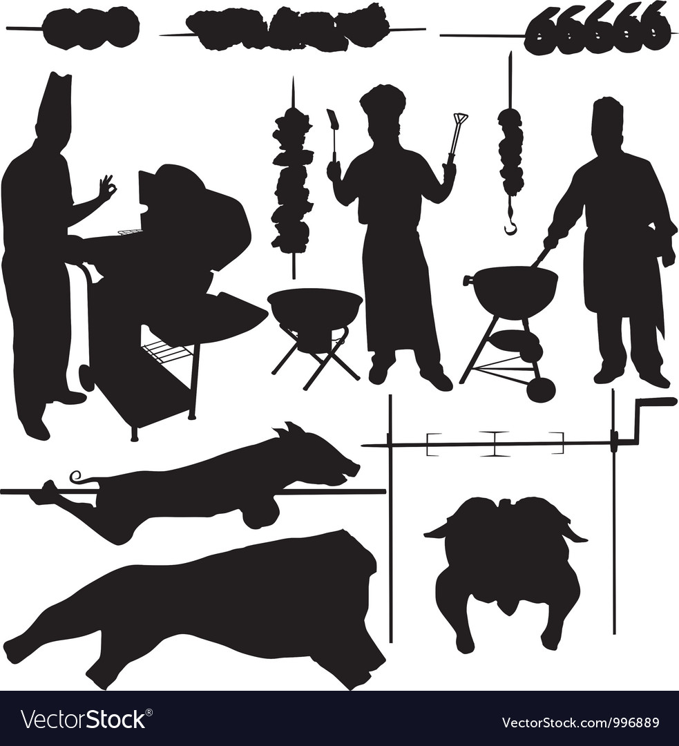 BBQ barbecue related items silhouettes