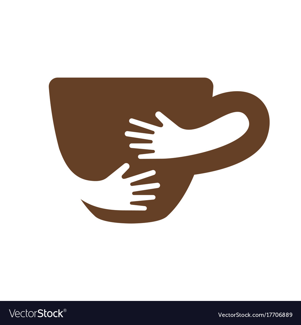 Creative coffee cup and hands logo design cafe or
