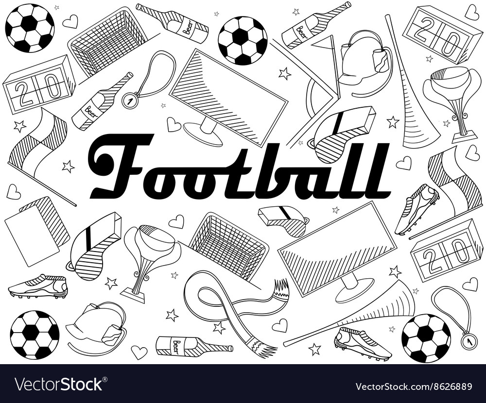 Football coloring book Royalty Free Vector Image
