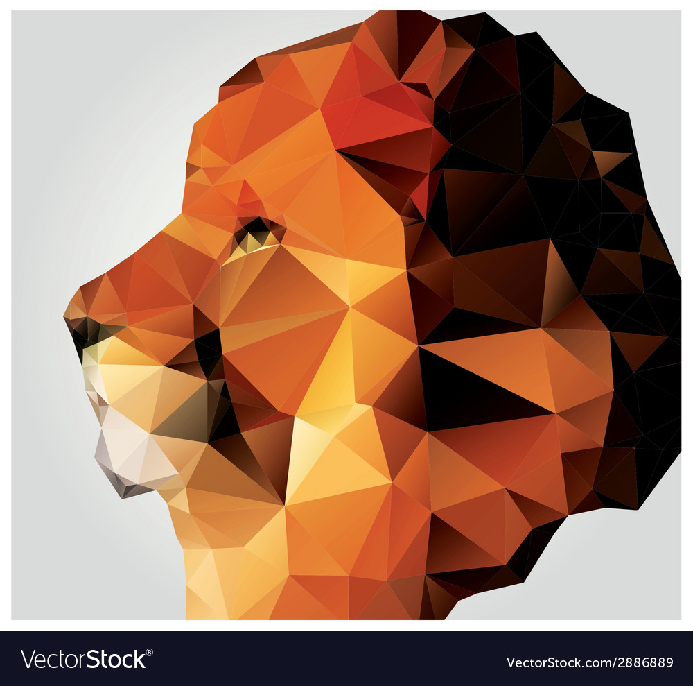 Geometric polygon lion head triangle pattern