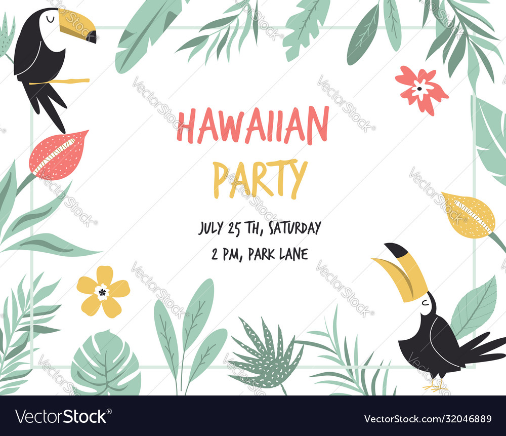Hawaiian card with toucans flowers and palm