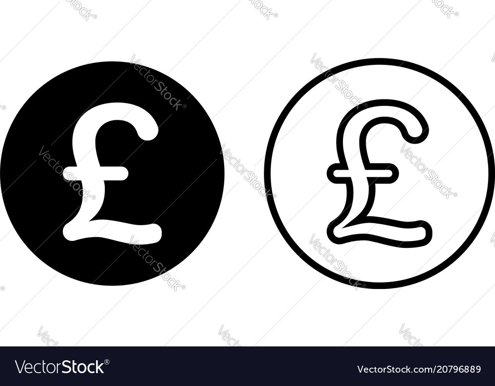 Pound Sterling Currency Symbol Icon Royalty Free Vector