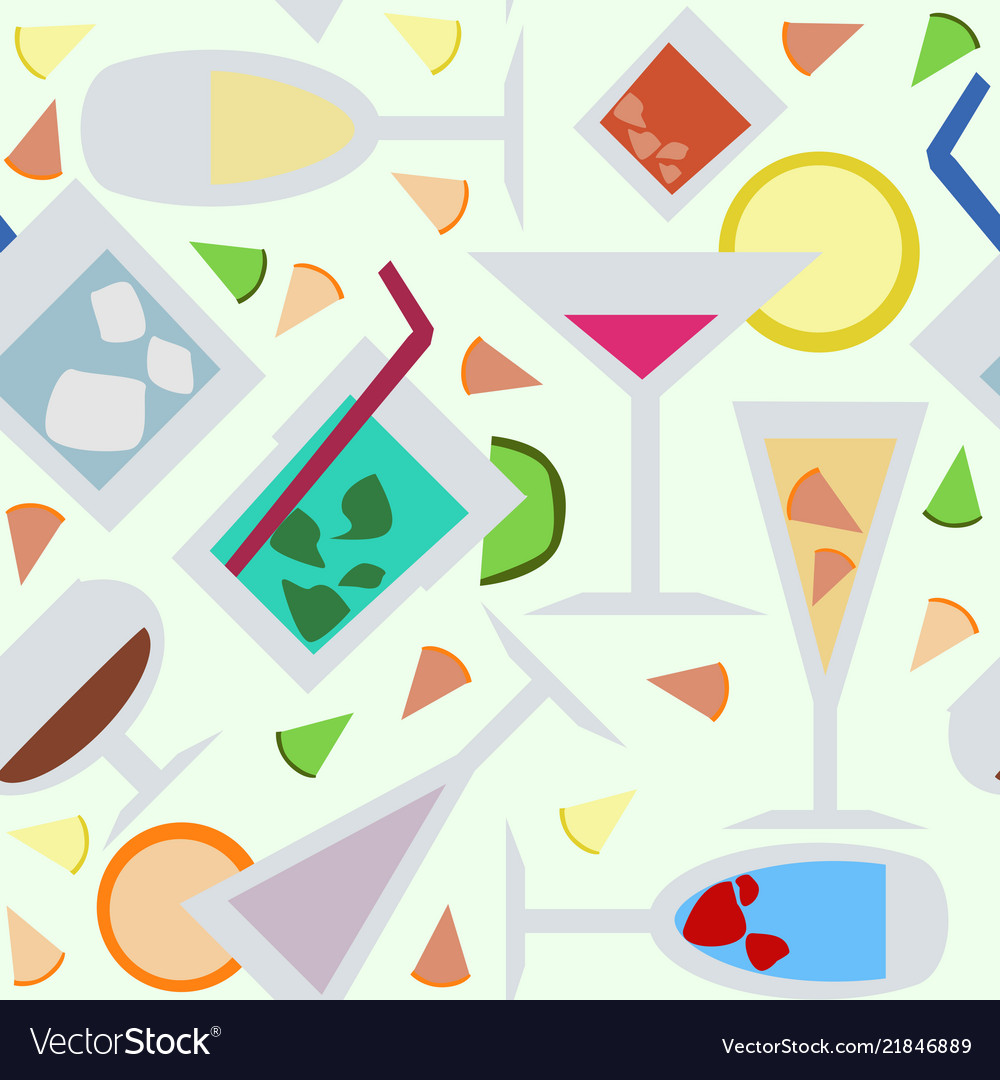 Seamless pattern with cocktails flat