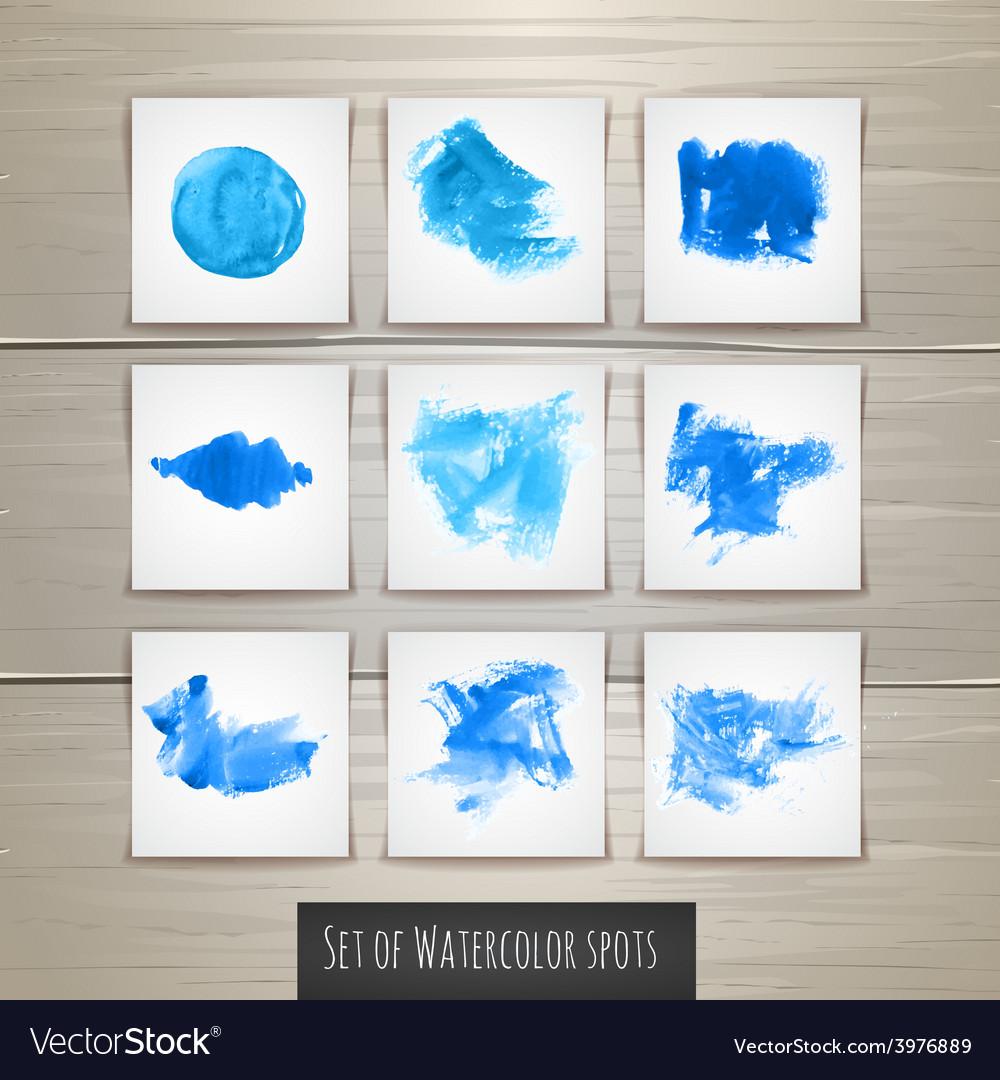 Set of Bright blue watercolor brush strokes