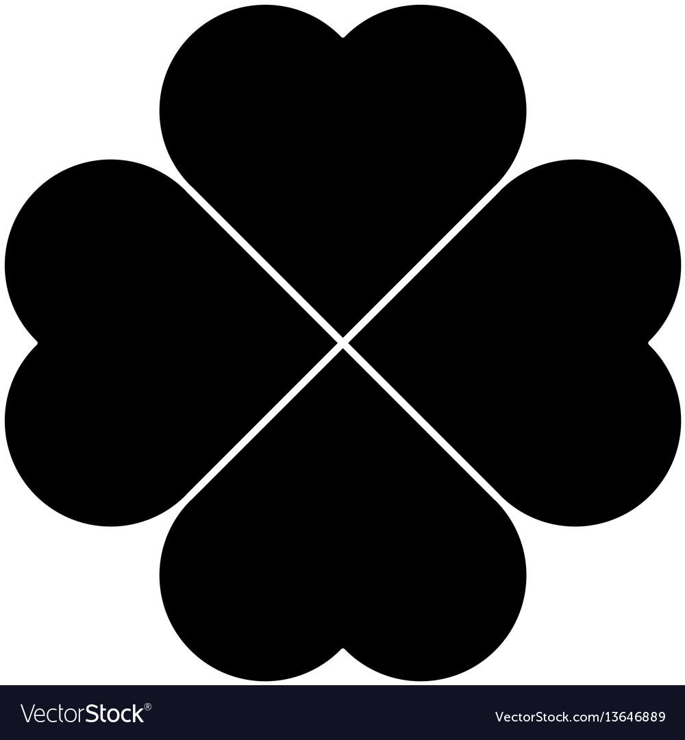 shamrock silhouette black four leaf clover icon vector image rh vectorstock com vector shamrock free celtic shamrock vector