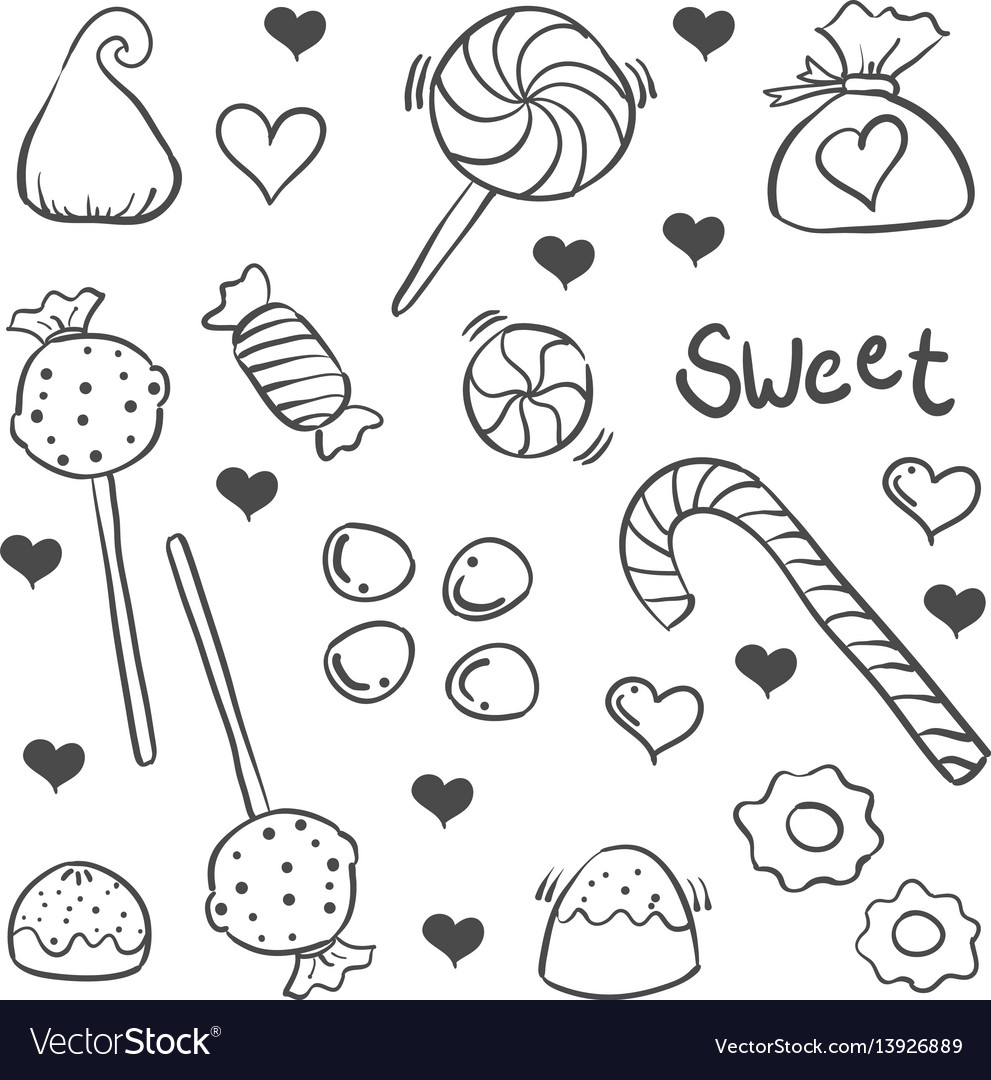 Various candy sketch of doodle art