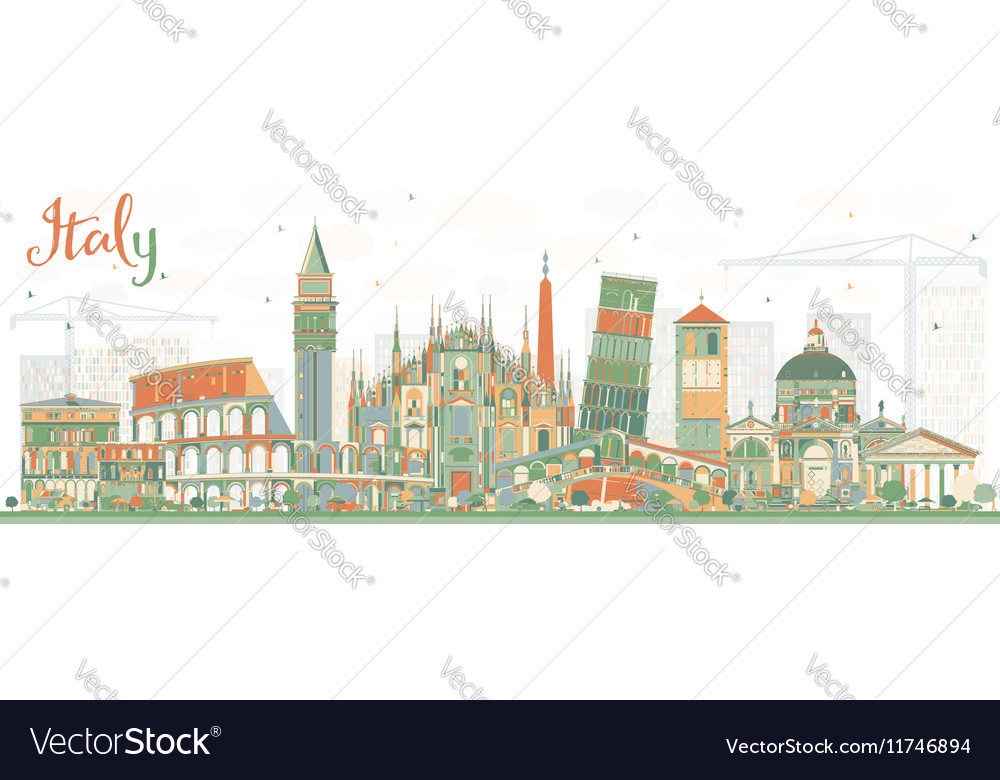 Abstract Italy Skyline with Landmarks