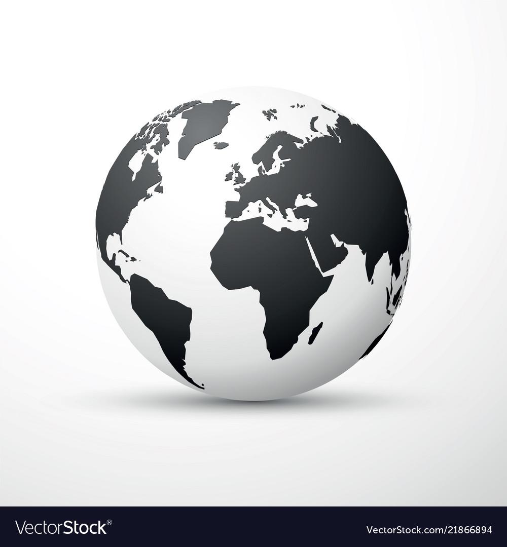 Black earth globe world map design Royalty Free Vector Image