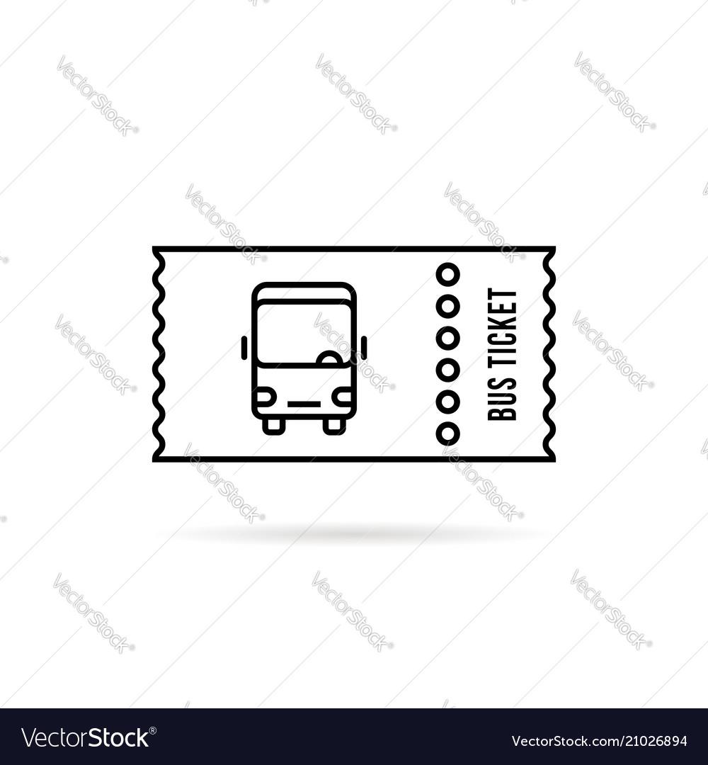 Black linear bus ticket simple logo