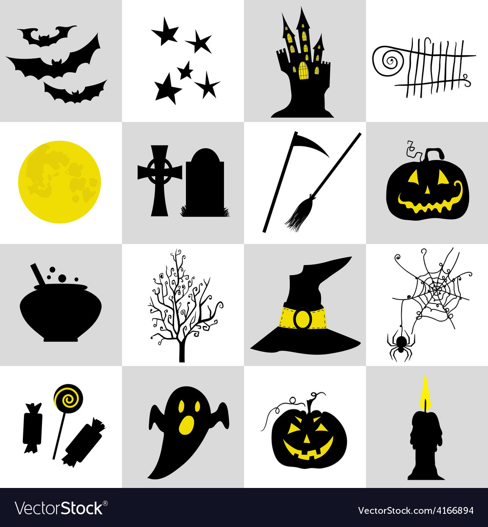 Halloween black and yellow icons set