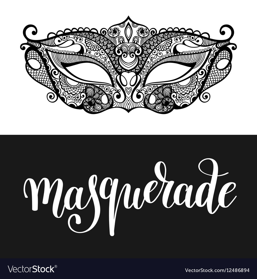 Masquerade hand lettering inscription and carnival vector image
