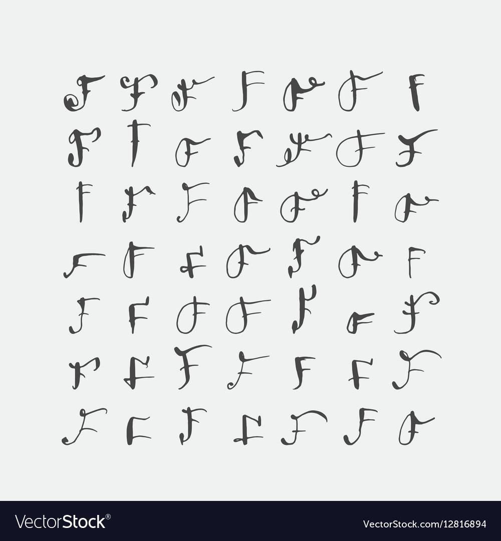 Set of calligraphic letters F handwritten