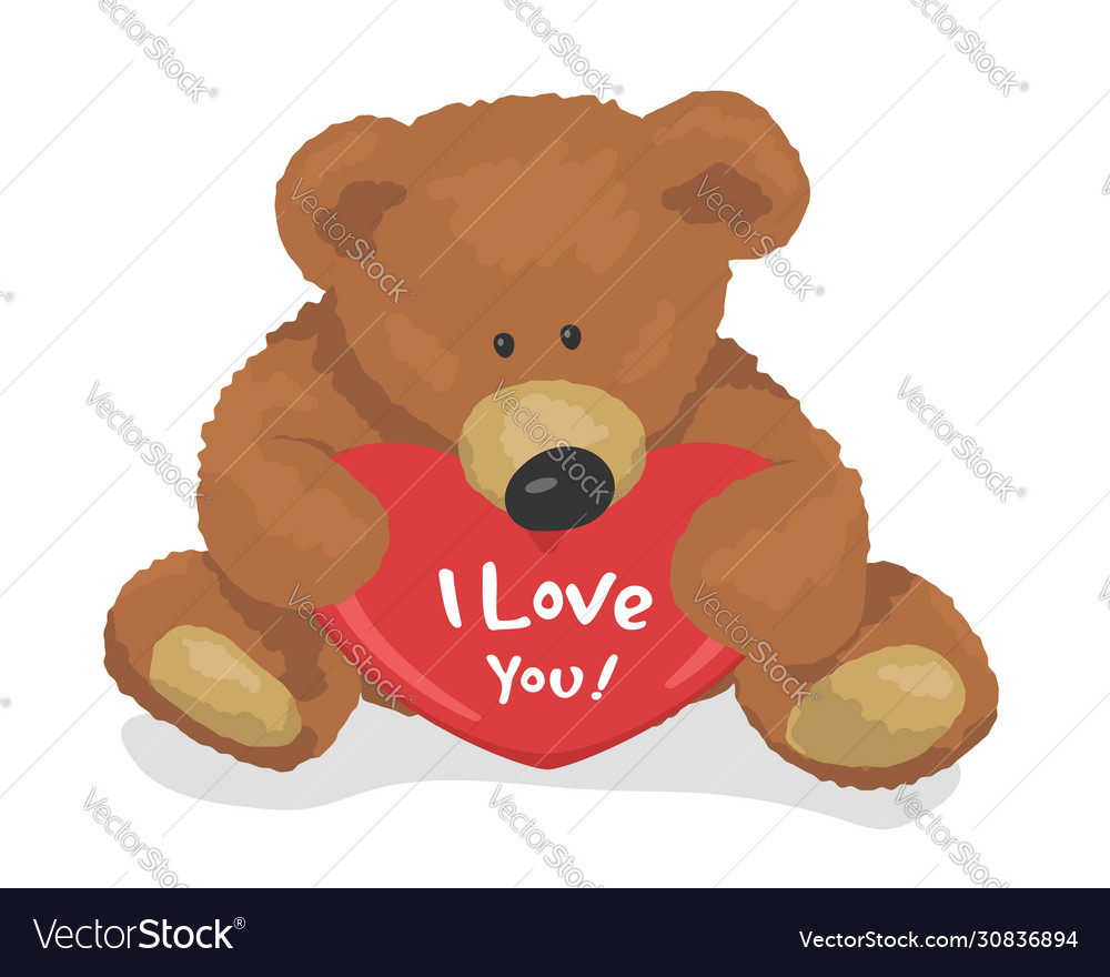 Teddy bear holds heart top view i love you flat