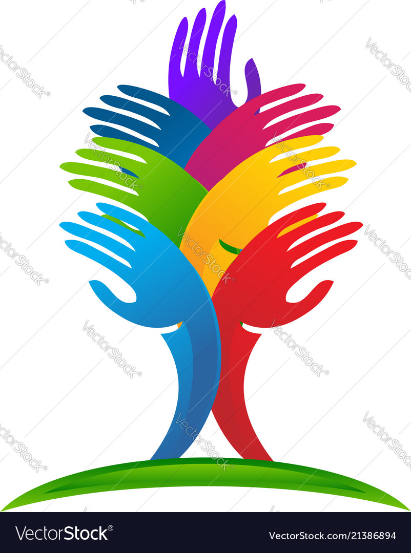 Unity Abstract Tree Hands Logo Royalty Free Vector Image
