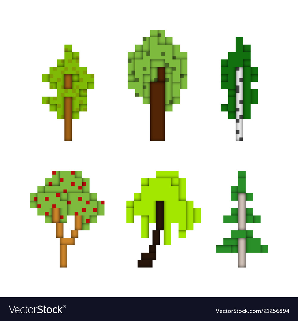 Various pixel art trees isolated on white