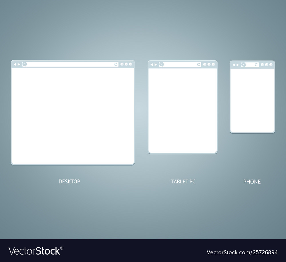 Website different devices web window mobile screen