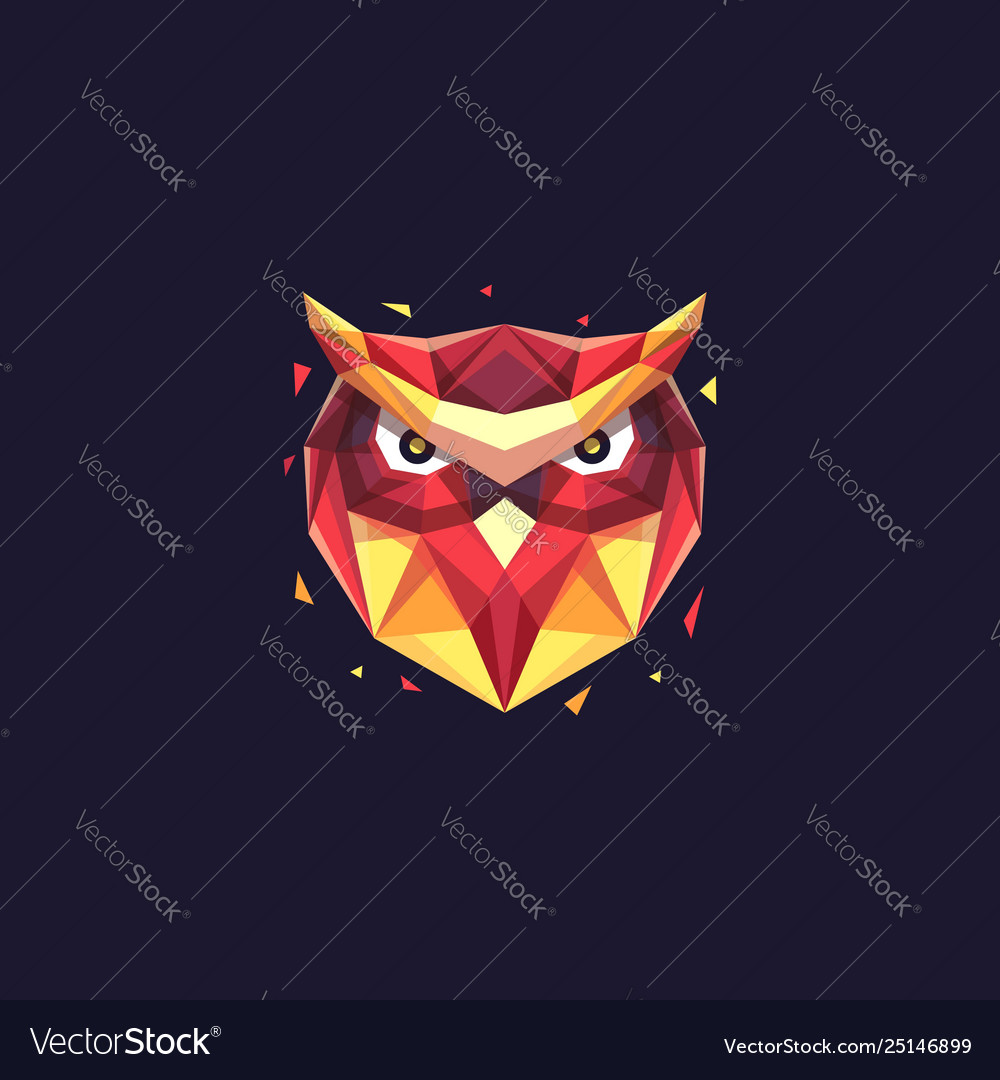 Abstract head owl geometric template