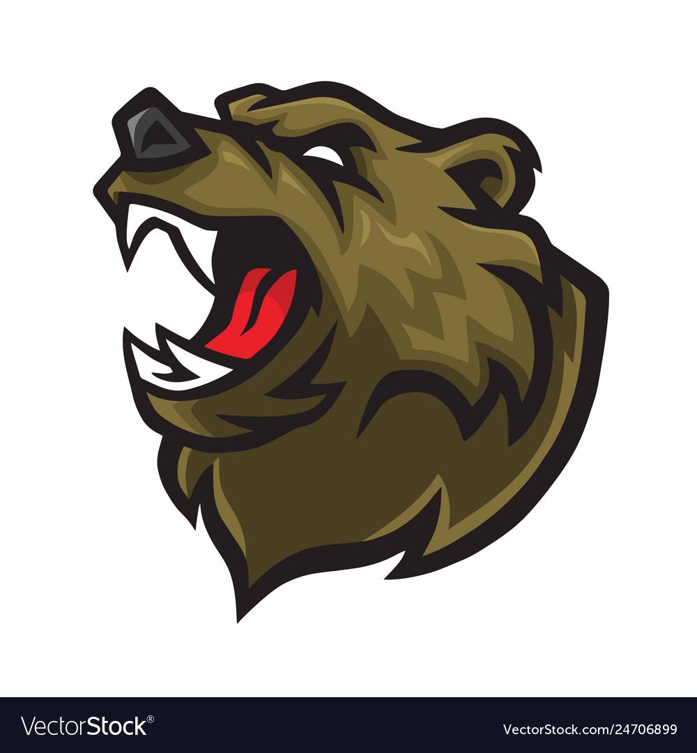 Angry bear logo mascot design