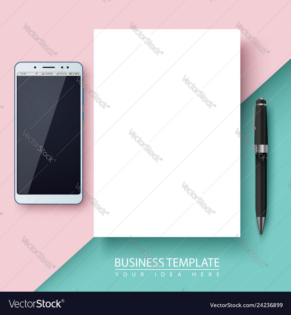 Business template paper smartphone pen