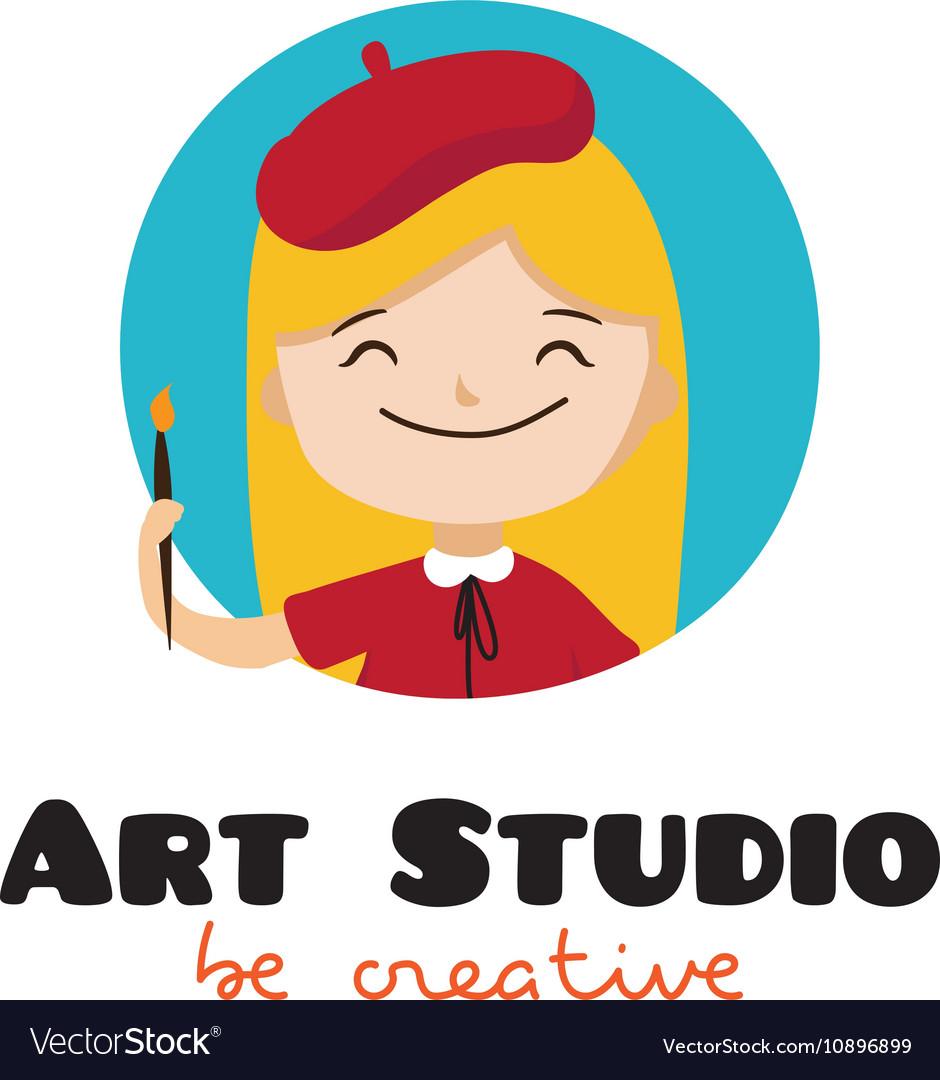 Cartoon Kids Art Studio Logo Royalty Free Vector Image