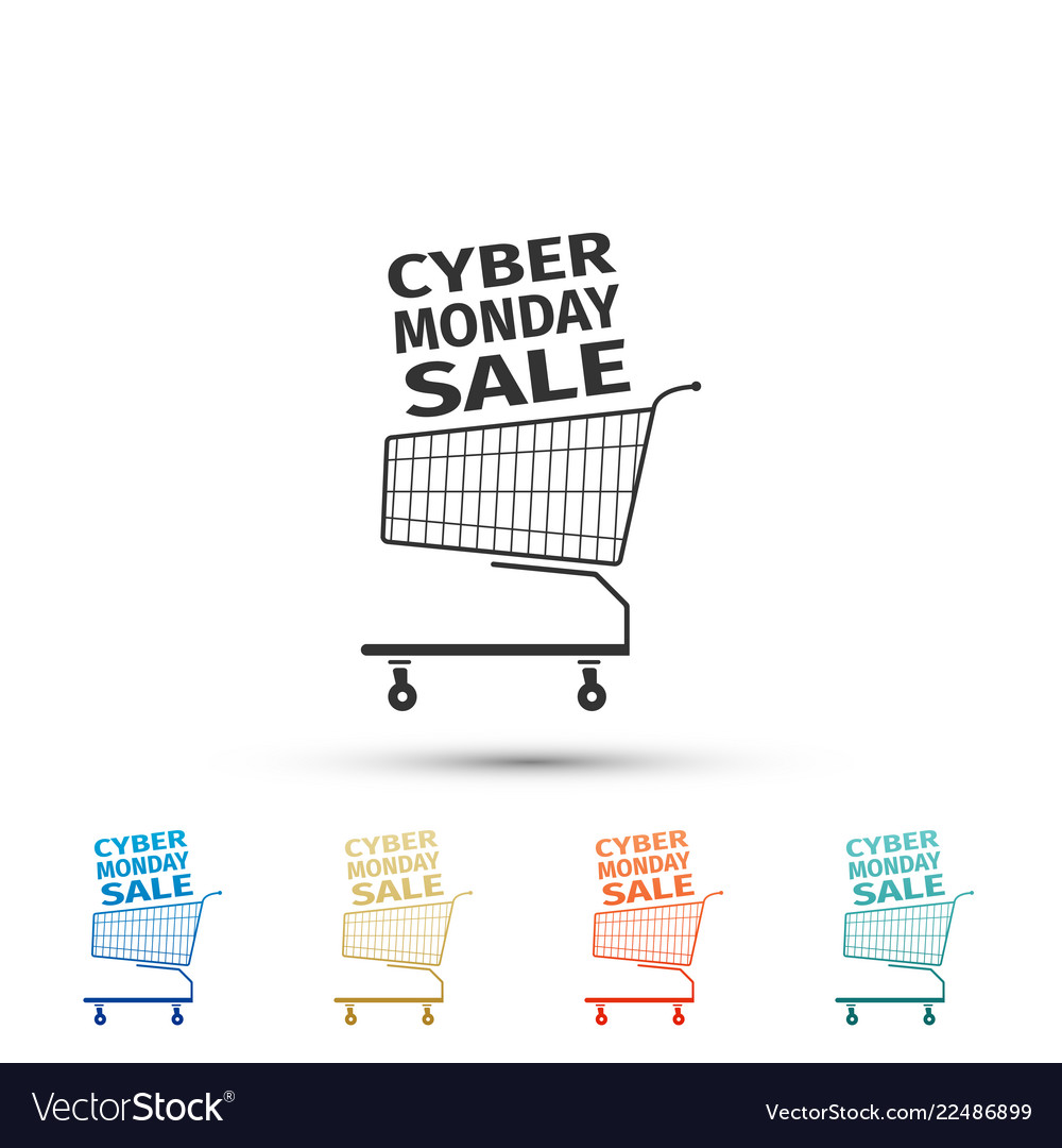 Cyber monday sale shopping cart icon isolated