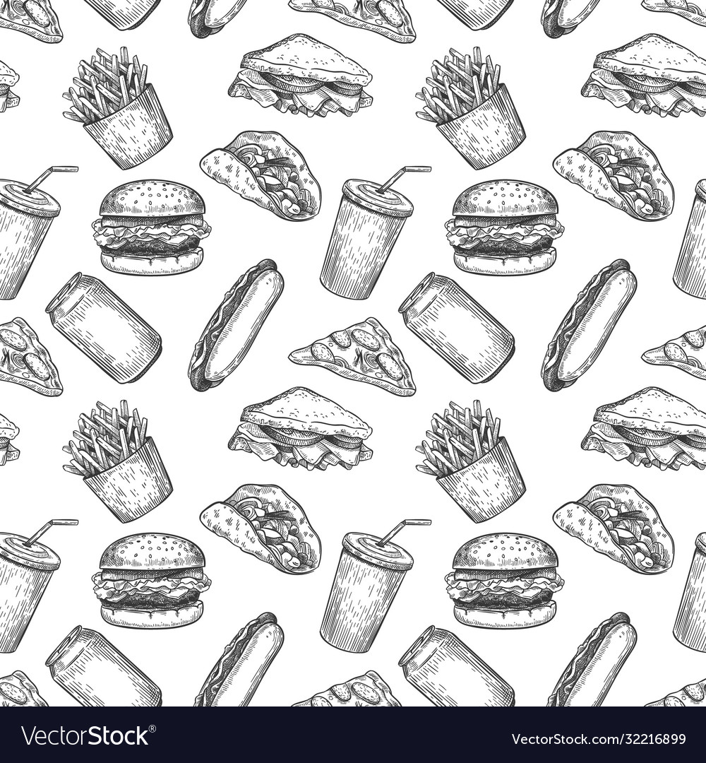 Fast food seamless pattern hand drawn pizza