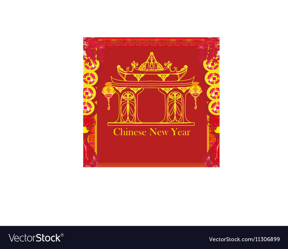 Oriental Happy Chinese New Year card vector image