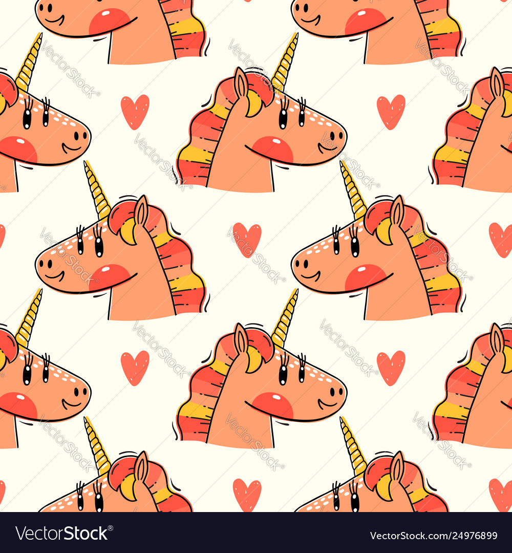 Seamless pattern with rainbow unicorn heads