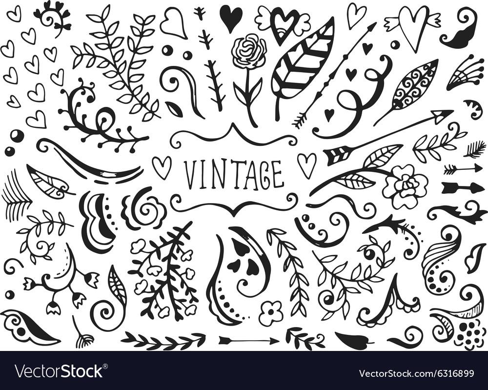 Set of vintage sketch elements