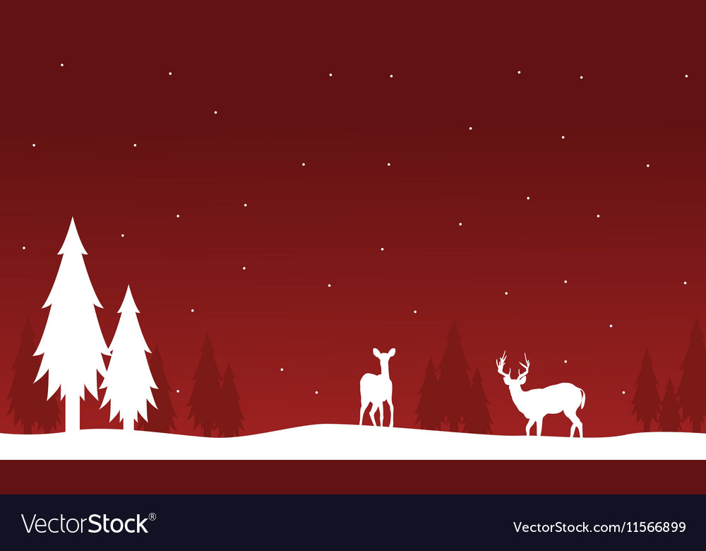 Silhouette of deer and spruce on red backgrounds