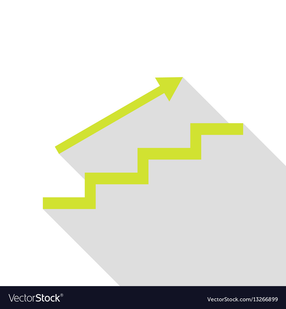 Stair with arrow pear icon with flat style shadow vector image