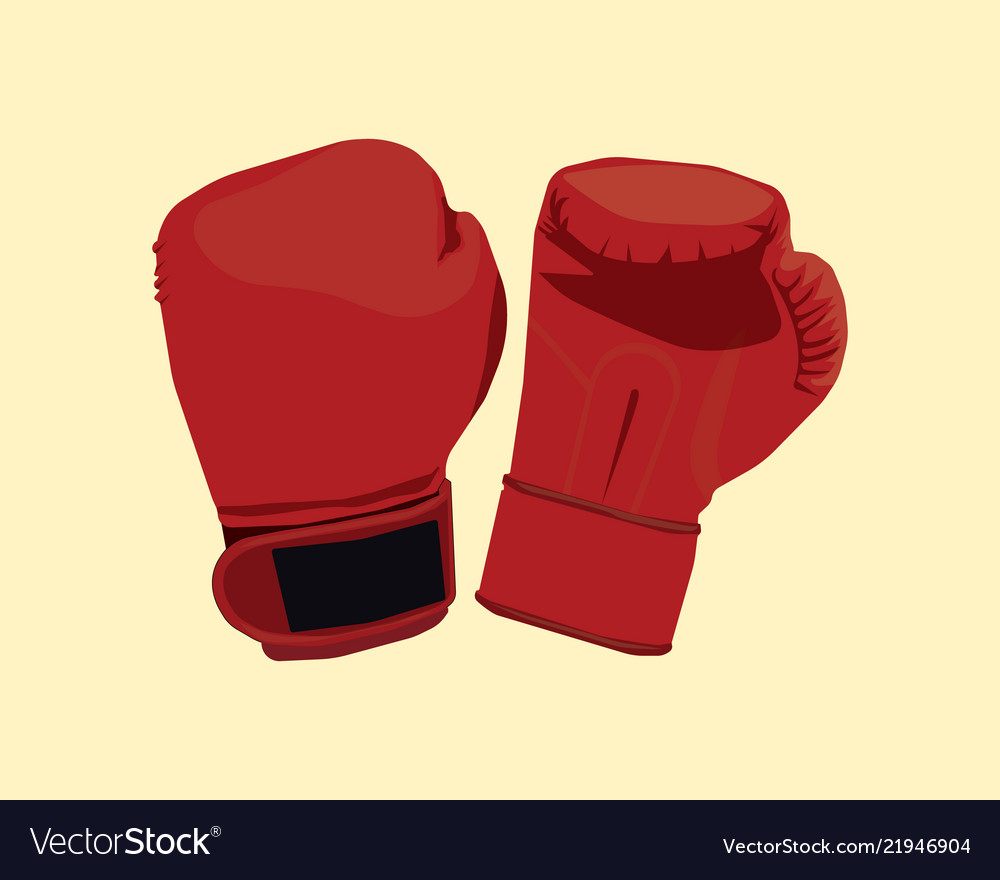 A pair of boxing gloves with flat style and