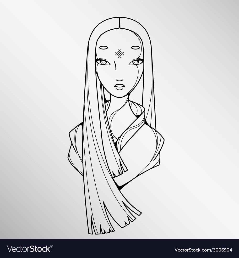 Black and White Beautiful Japan Girl vector image