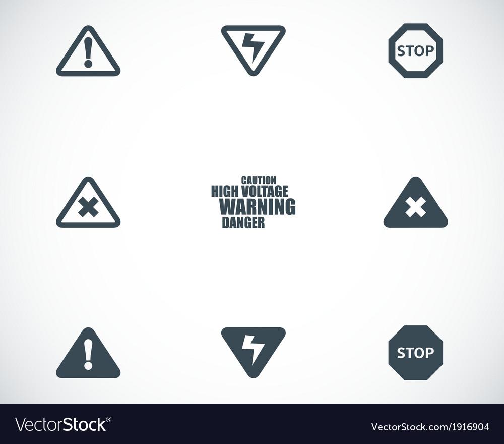 Black danger icons set
