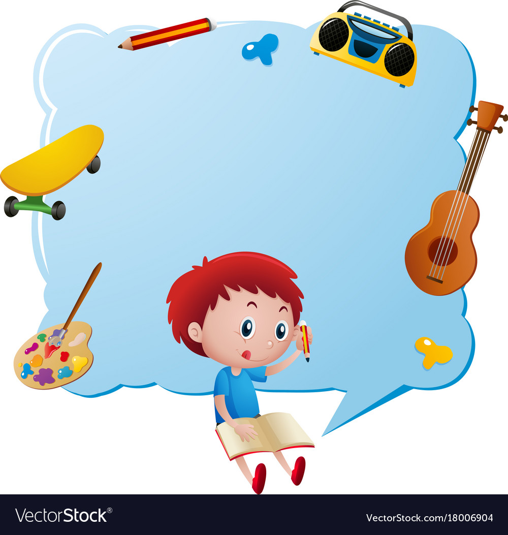 border template with boy writing in book vector image
