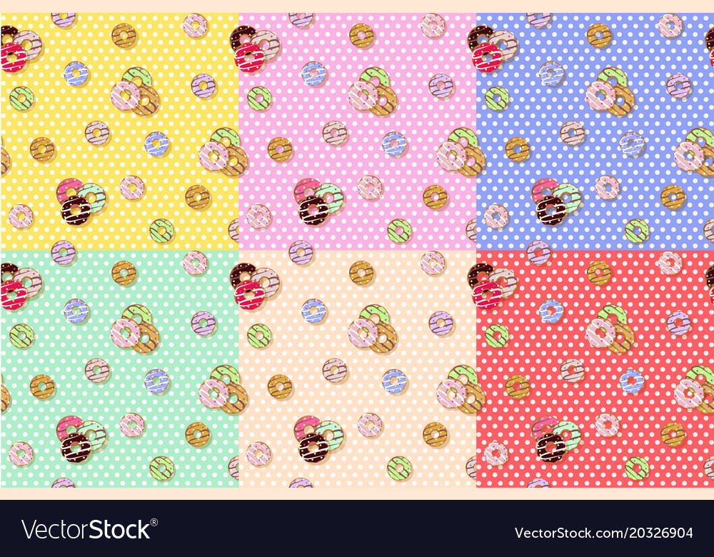 Colorful donuts seamless pattern cartoon cute