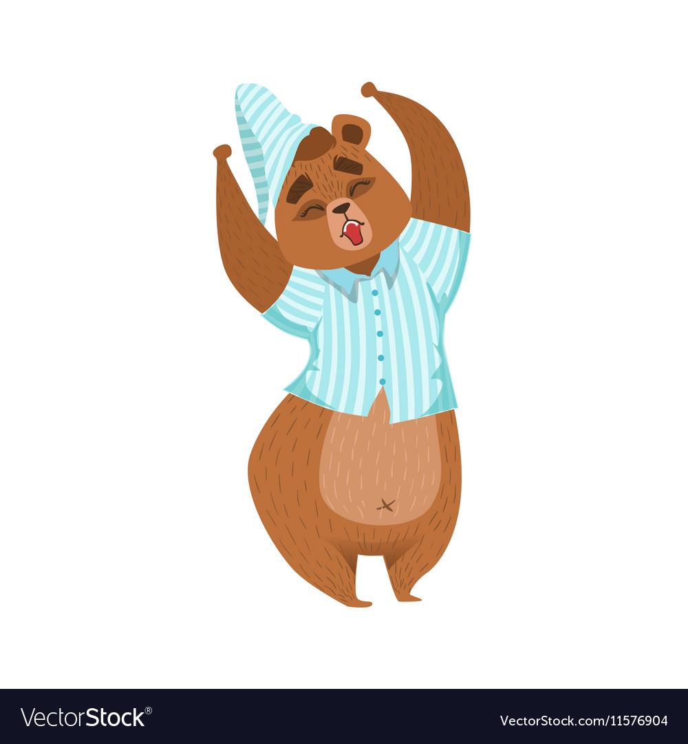 Girly Cartoon Brown Bear Character In Pyjamas