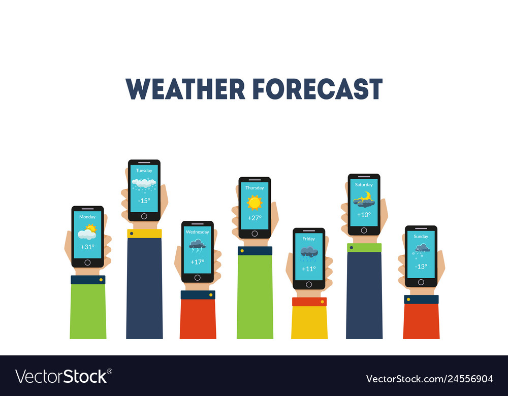 Human hands holding smartphones with weather