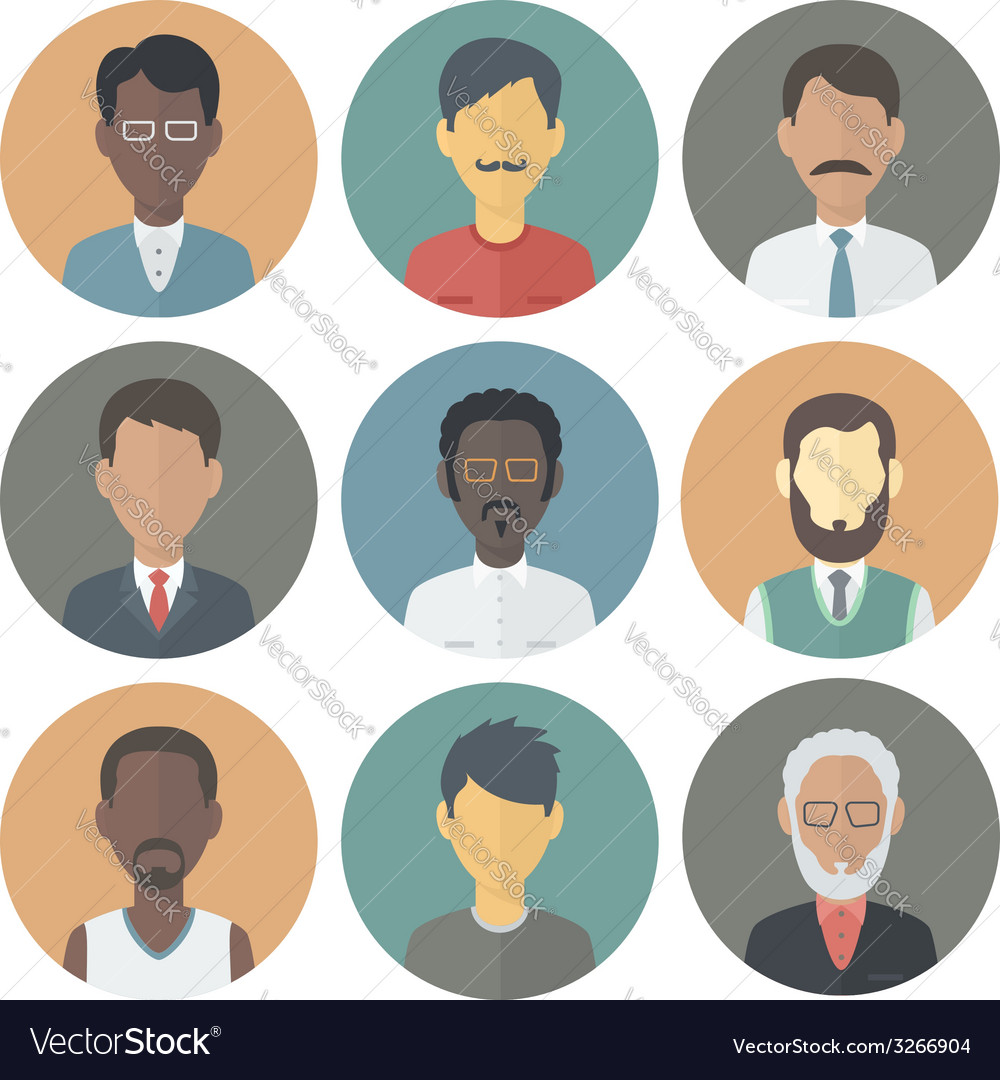 Icons Set of Persons Male Different Ethnic