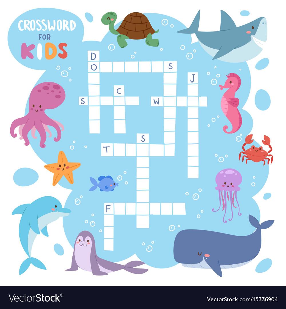 Kids magazine book puzzle game of sea underwater