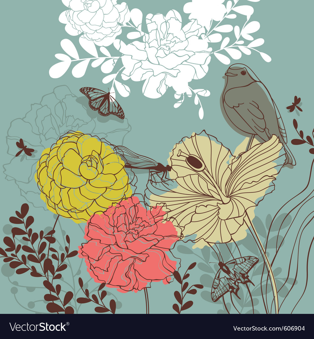 Lovely floral card vector image
