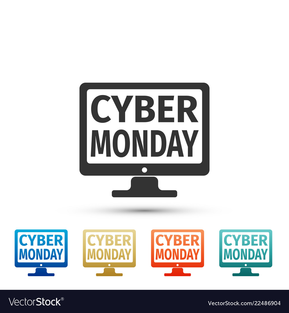 Monitor with cyber monday on screen icon