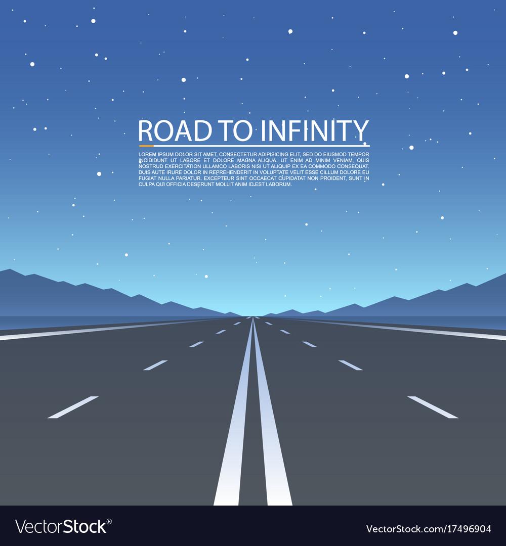 Road to infinity road highway vector image