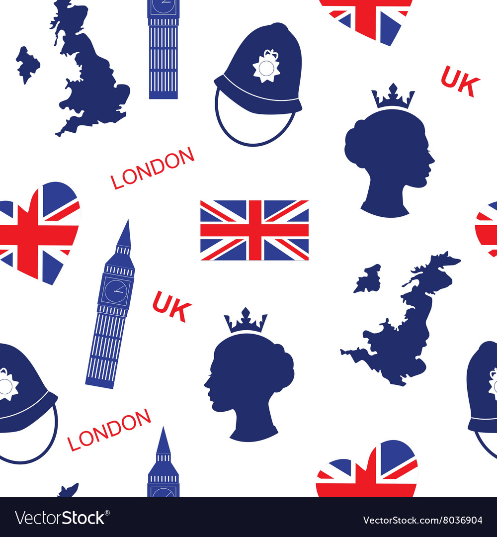 Seamless pattern background with London landmarks