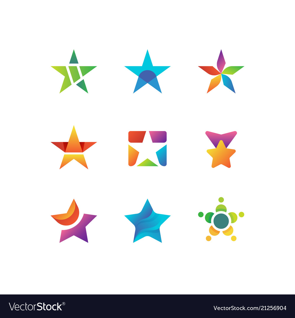 Shooting night star rising stars logo vector