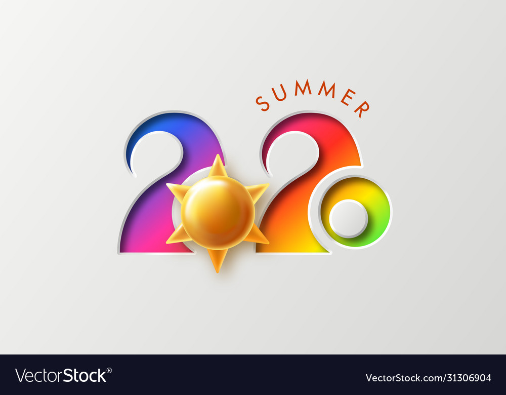 Summer 2020 background with cut numbers and golden