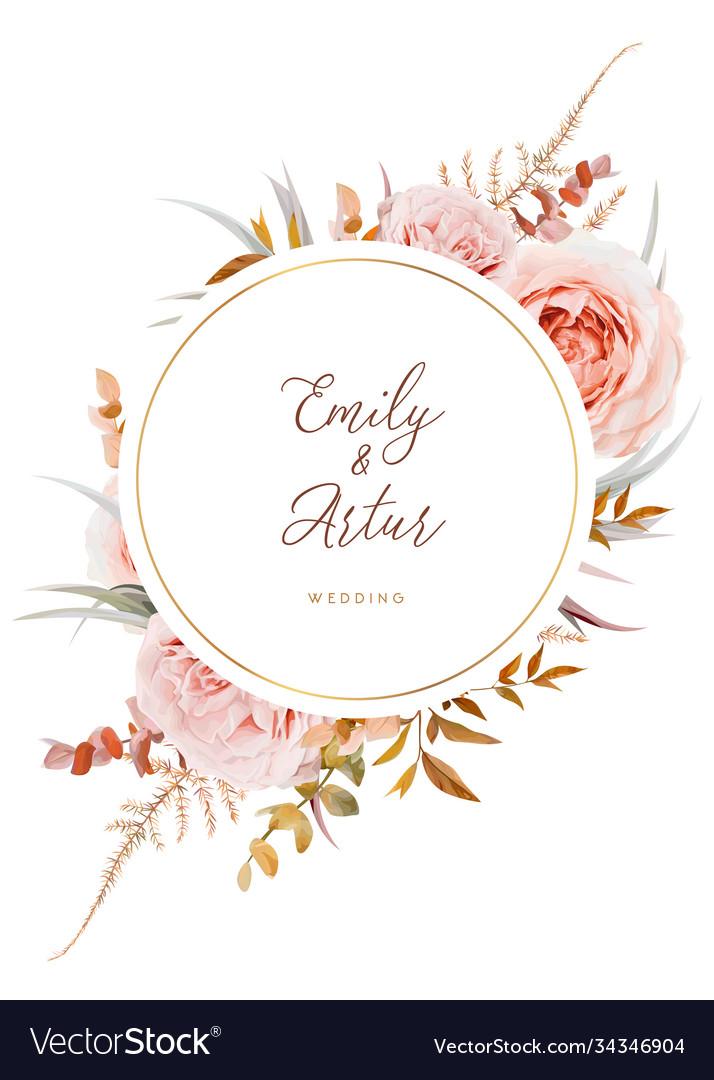 Wedding invite save date card design blush peach